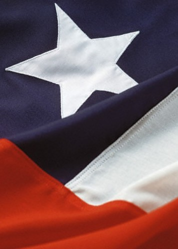 Chile's flag (my adopted home), which looks surprisingly like the Texas flag, so much so that I thought I was looking at a Texas apron/magnet/kitchen set the other day.