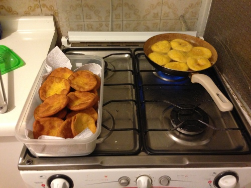 So we started making our own fried food. Here's our second attempt at Chilean sopaipillas.